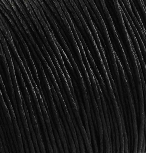 Cotton cord with wax coating black 1