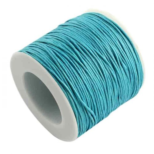 Cotton cord with wax coating blue