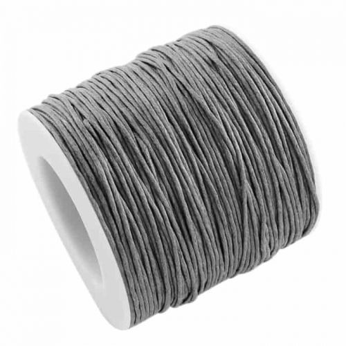 Cotton cord with waxy coating gray